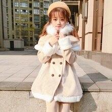 Зимнее милое пальто в стиле Лолита в студенческом стиле, бархатное утепленное облегающее викторианское пальто+ плащ с маленьким лося, кавайный костюм для девочек