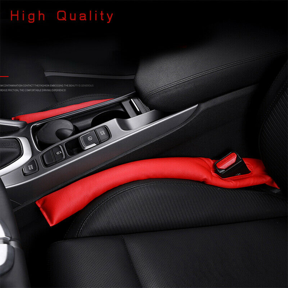 Universal Car Seat Leak Proof Pad 2pc Red Built-in Slot Filler Protector Auto Vehicles Accessories 18.11X2.56 Inch