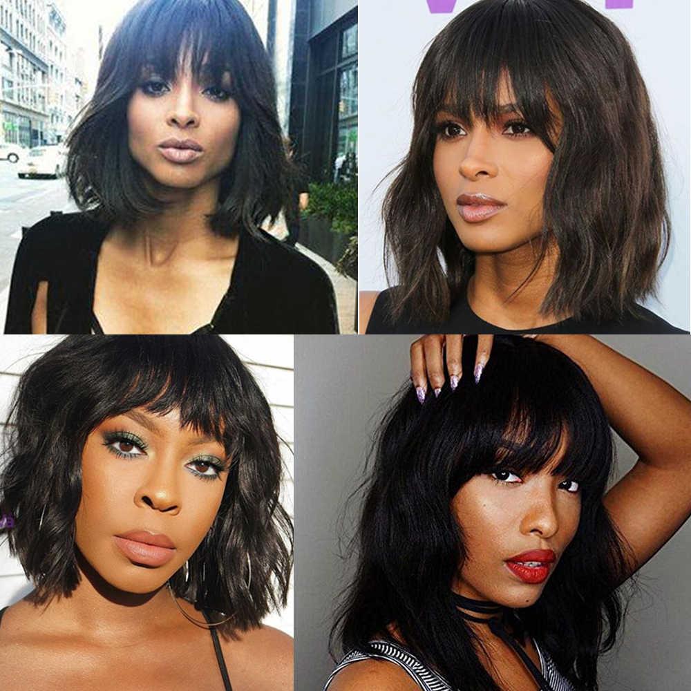 Бразильские человеческие волосы, парики, волосы «океанская волна», парики с челкой для женщин, парики из человеческих волос, Натуральные Цветные машинные парики