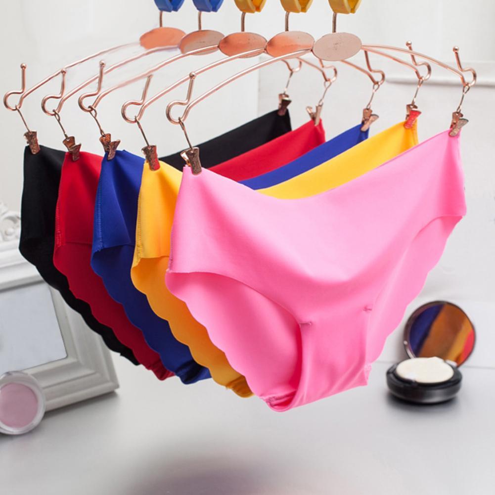 Summer Plus Size Briefs Panties Women Underwear Ice Silk Seamless Panties Solid Color Low Waist Briefs Womens Underwear Panties