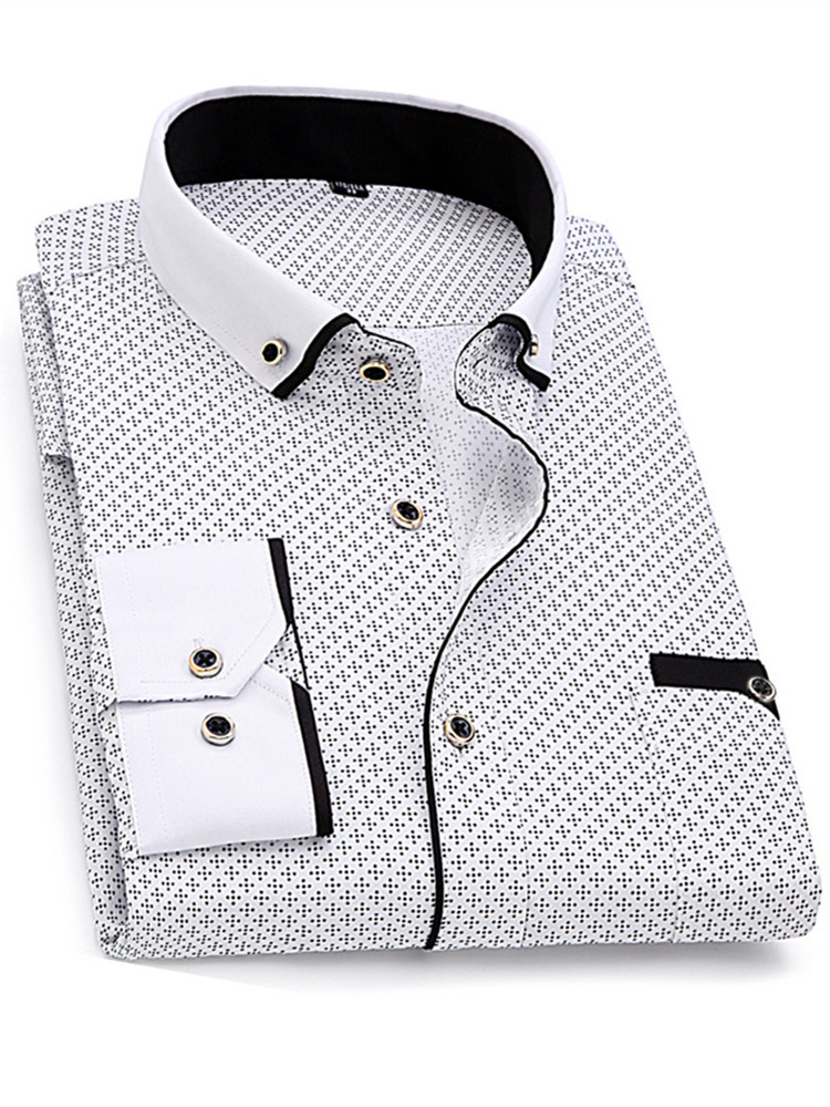 Printed Shirt Clothing Business-Dress Slim-Fit Long-Sleeved Social Comfortable Soft Casual