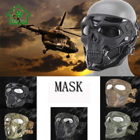 Full Face Skull Mask Halloween Party Hunting Activity Outdoor CS Game BB Gun Shooting With Goggle Eye Protection Scary Mask Sets