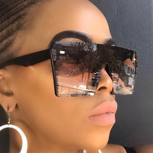Square Sunglasses Mirror Shade Clear-Lens Flat-Top Oversized Black Women Luxury Brand Fashion