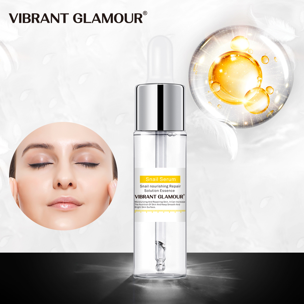 VIBRANT GLAMOUR Snail Anti-Aging Anti Ance Face Serum Hyaluronic Acid Liquid Whitening Shink Pores Mosturizing Cream Skin Care