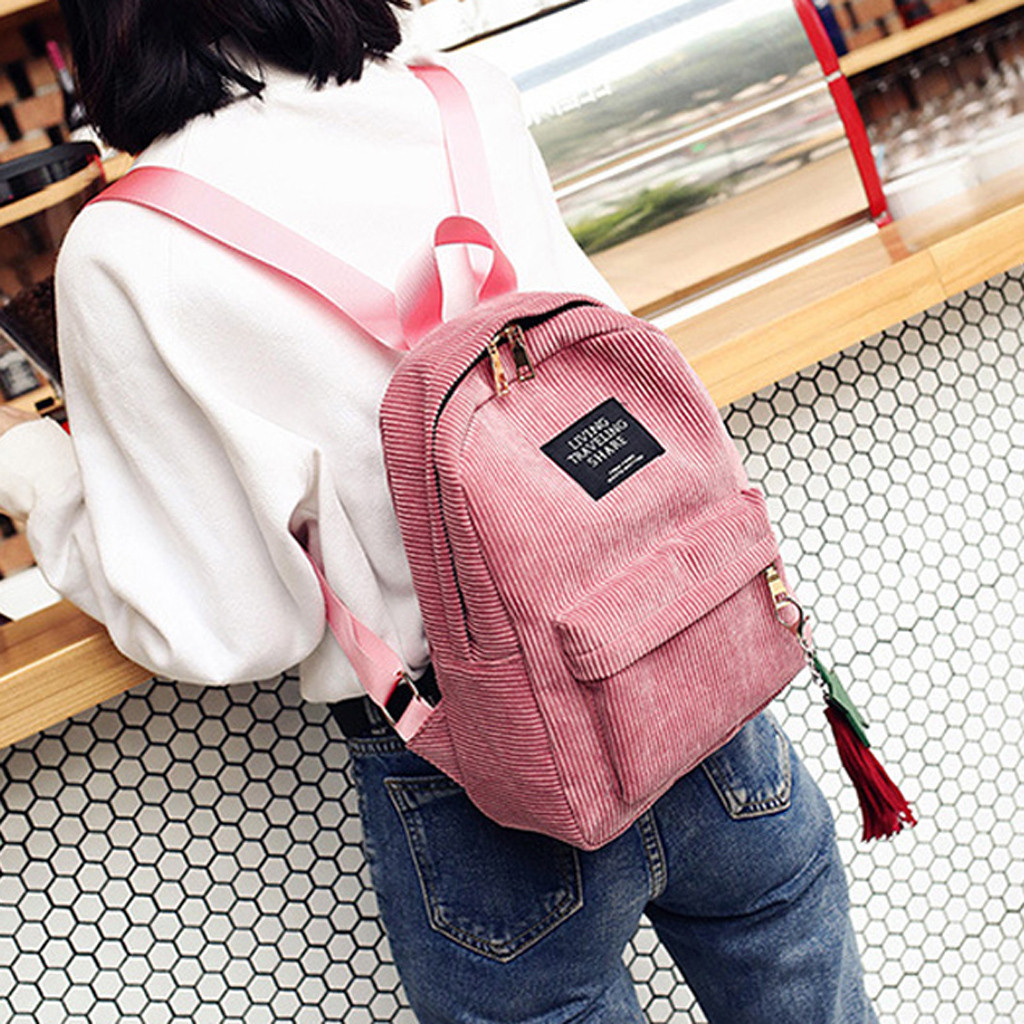 Fashion Woman Mini Simple Corduroy Backpacks Campus Style Pure Color Capacity Double Shoulder Bag Solid Color Corduroy Backpack