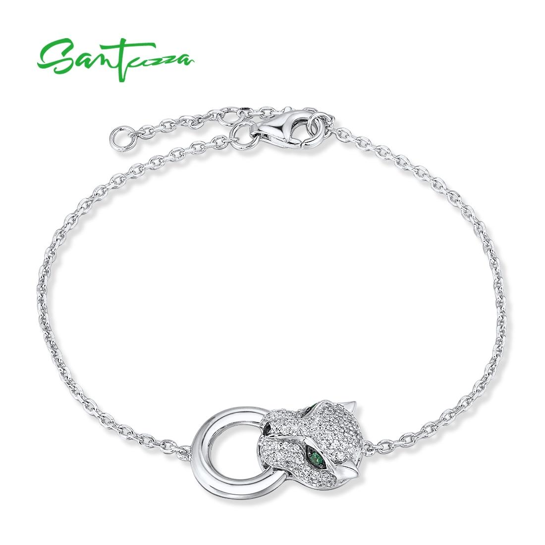 Glitzernder Panther-Kopf an feinem Armkettchen | 925 Armband 925 Armbänder