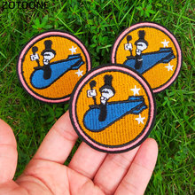 ZOTOONE Iron on Round Skull Patches for Clothing Kids T-shirt Embroidered Badge DIY Cool Patch Sew Stripe Clothes Applique G