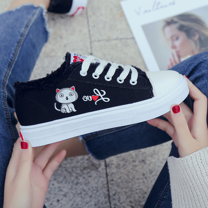 2019 Autumn New Style Fashion Casual Canvas Shoes Women's Korean-style Versatile Students Casual Shoes Sneakers Lace-up White Sh