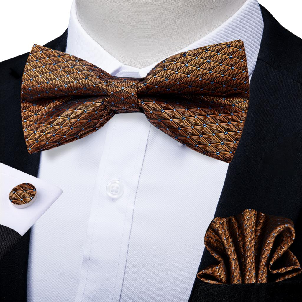 Gold Check Silk Bow Tie Set Wedding Bow Tie Pocket Square Cufflinks 3pcs Set Tuxedo Butterfly Tie Male Neckwear DiBanGu