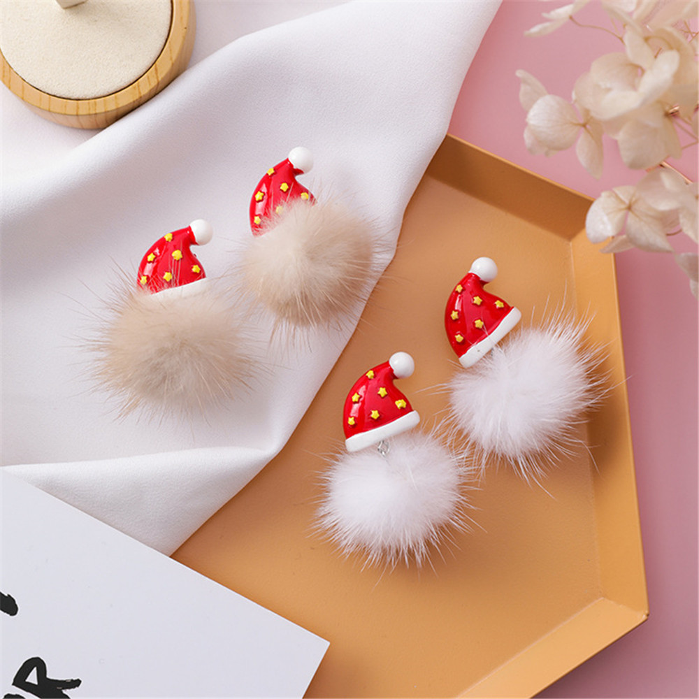 Women Girl Stud Earrings Korean Christmas Red Hat Hair Ball Cute 2019 Fall Winter Fashion Jewelry Accessories Wholesale-MS-W3