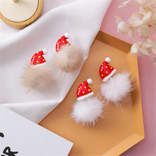 Women Girl Stud Earrings Korean Christmas Red Hat Hair Ball Cute 2019 Fall Winter Fashion Jewelry Accessories Wholesale-MS-W3(China)