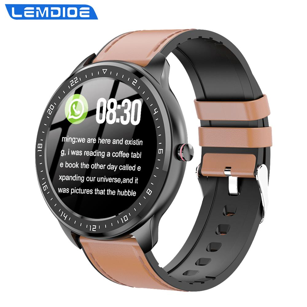 LEMDIOE full circle touch screen smart watch men blood pressure women heart rate monitor long standby smartwatch for android ios(China)