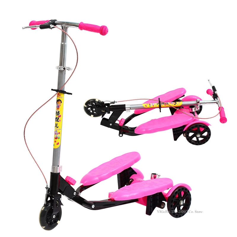 New Arrival Portable Kids Pedal Scooter With Seat Can Sit And Ride, Foldable 3-wheeled Stepper Scooter For 4-12 Years Old Kids