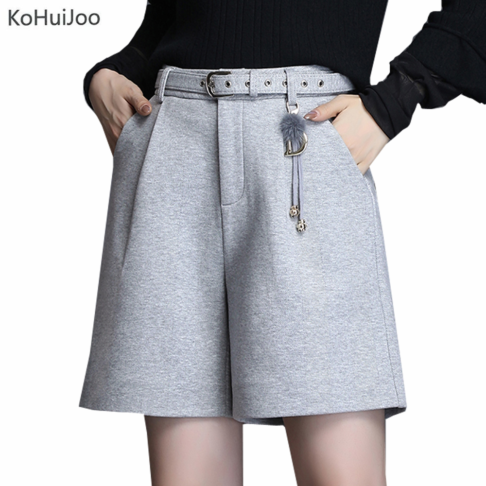 Women Winter Woolen Shorts Autumn New Korean Loose Elegant Knee Length High Waist Shorts Ladies Wool Shorts Gray Beige