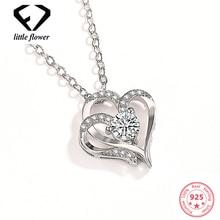925 Sterling Sliver Necklace Diamond Pendant Jewelry Heart Shape for I Like Mom Sister Gift Anillos Colgantes Bizuteria Pendants