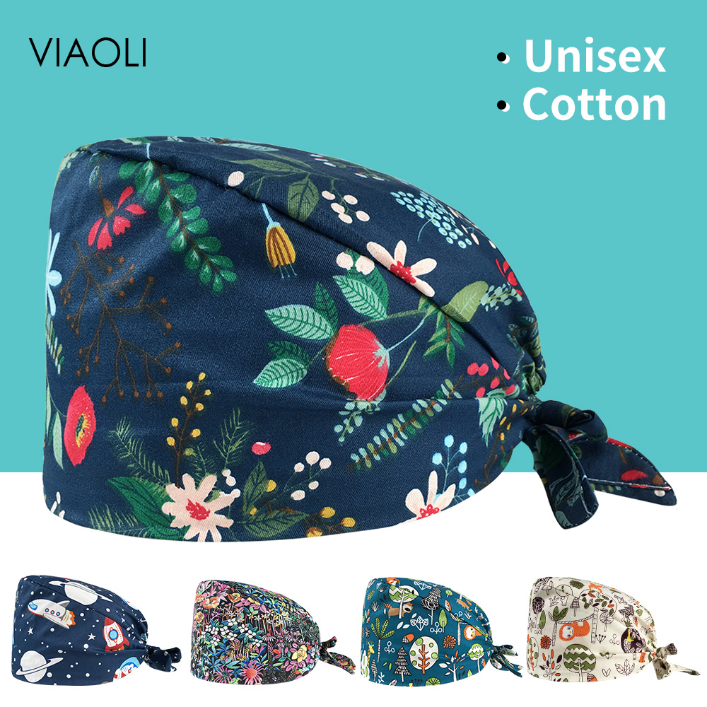 Unisex Medical Surgical Scrub Printing Cap Medical Printed Hat Adjustable Cotton Dental Surgeon Cap Surgical Clinical Doctor Cap