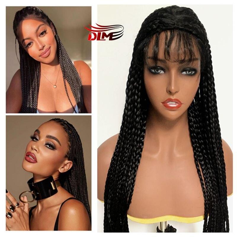 Peruca sintética longa trançada dlme com o cabelo do bebê para o cabelo preto feminino caixa tranças cabelo resistente ao calor marrom cabelo preto