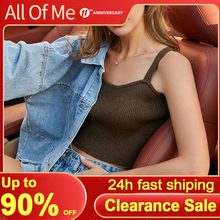 Women Top Knitted Camisole Sweater Tanks Fashion Crop Top Female Sleeveless Intimate Lingerie Casual Design Cami Black/Khaki