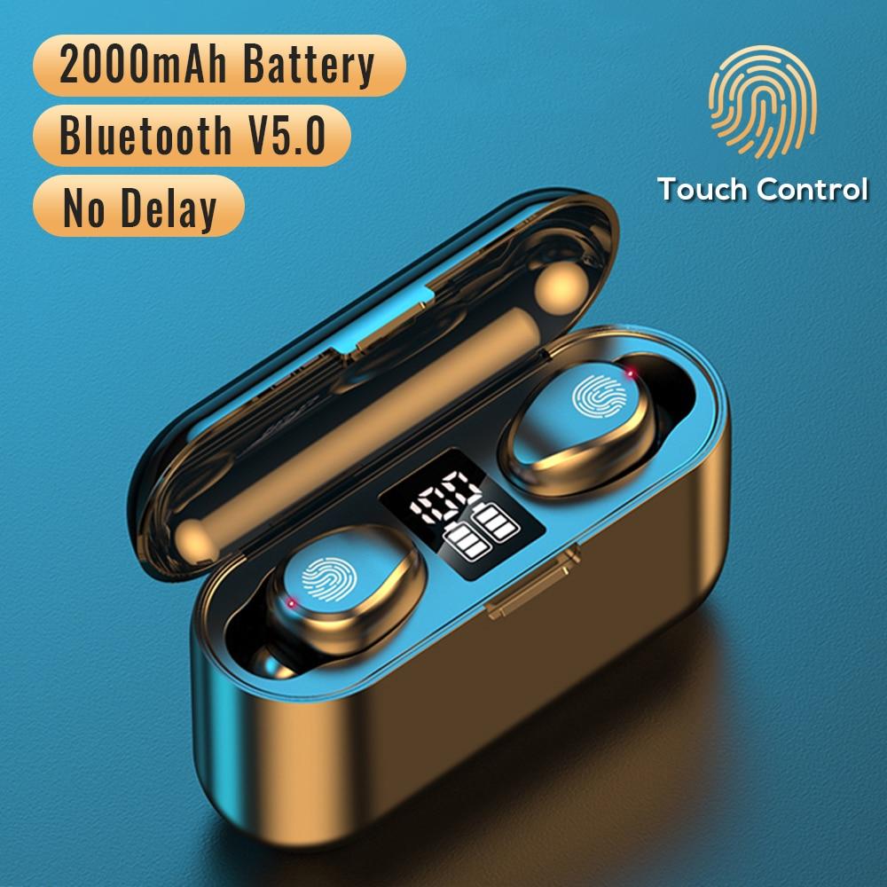 Новые беспроводные наушники F9, Bluetooth 5,0, наушники TWS HIFI, мини наушники в ухо, Спортивная гарнитура для бега, Поддержка iOS/Android телефонов, HD звонк...