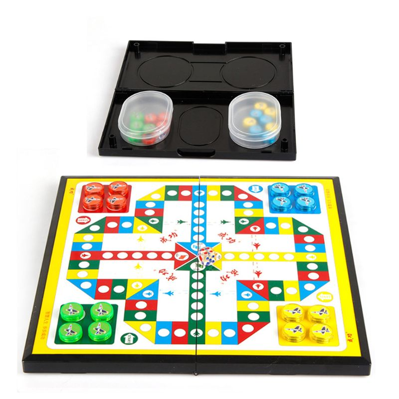 Mini Magnetic Foldable Chess Ludo Portable Camping Travel Board Game Set Ludo Develop Intelligence Board Game