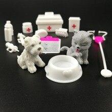 Bebê boneca playset equipamentos médicos kit menina fingir jogar suprimentos de brinquedo boneca animal estimação para barbie criança boneca acessórios casa decoração