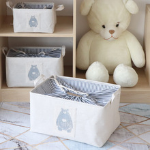 Cotton and linen art home storage box foldable toy clothing basket frame beam mouth Sundries  baskets
