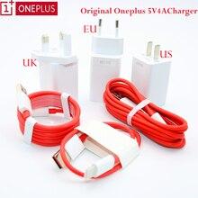 Original para oneplus 6 6 t tipo c traço cabo de carga 5 v 4a eua ue adaptador de carregamento rápido para um mais 7 1 + 6 t 5 t oneplus 3 t/1 + 5