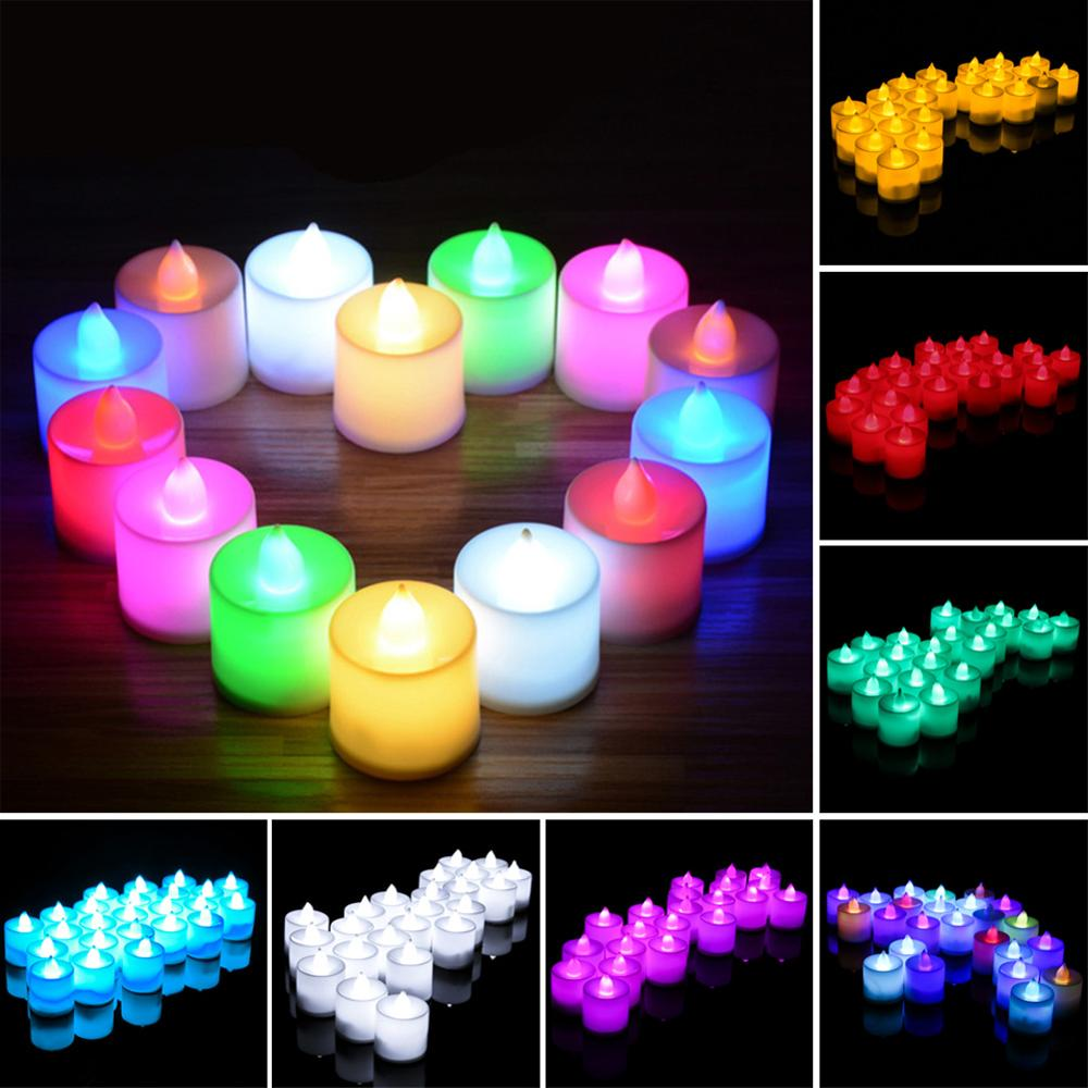 24pcs Flameless LED Candle Flicker Light Valentines Day Decoration Electric Candle Lamp Festival Wedding Celebration Decoration