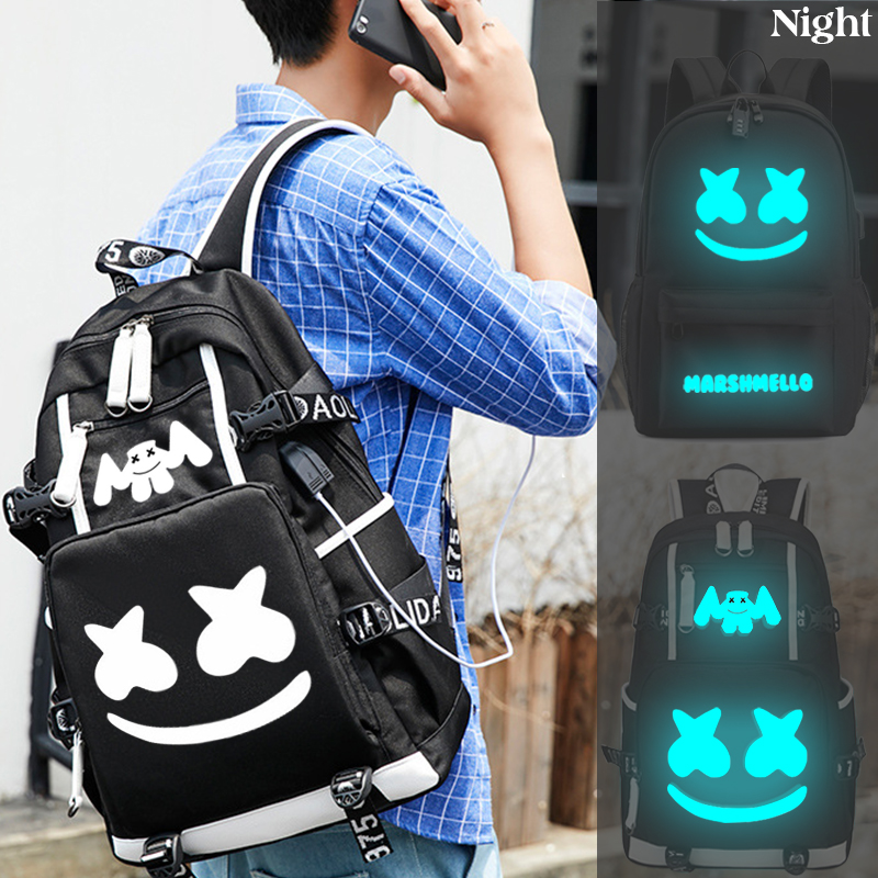 Luminous Marshmallow Bookbag For Teenager Student Backpack USB Charging Laptop Anti Theft School Bags Canvas Waterproof Backpack