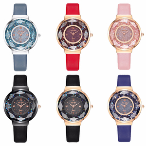 Image 5 - YOLAKO Women Leather Moving Diamond Watch Luxury Ladies Quartz Wrist Watches Clock Reloj Mujer Relogio Feminino