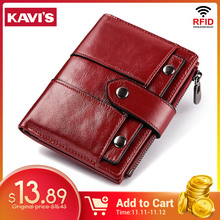 KAVIS Genuine Leather Women Wallet Female Red Color Coin Purse Small Walet Portomonee Zipper and Money Bag Lady Mini Card Holder