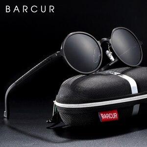 Image 2 - BARCUR עגול שמש משקפיים גברים נשי אלומיניום מגנזיום משקפי שמש גברים משקפי שמש מקטב oculos דה סול