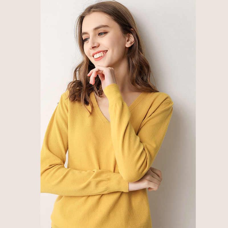 Johnature 2020 새 봄 v 넥 니트 풀오버 스웨터 10 색 슬림 여성 의류 모리 걸 솔리드 컬러 캐주얼 스웨터