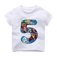 Г. Летние детские футболки с надписью «С Днем Рождения», «мстители», номер 1-9 лет футболка для мальчиков с супергероями детская одежда для маленьких девочек dHKP1003