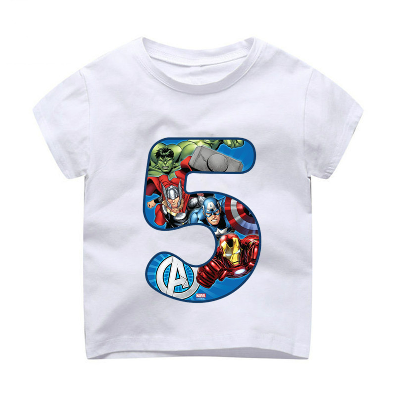 Summer 2019 Happy <font><b>Birthday</b></font> Avengers Number 1~9th Kids T-shirts Superhero Boy <font><b>Tshirt</b></font> <font><b>Baby</b></font> Girl kid Clothes dHKP1003 image