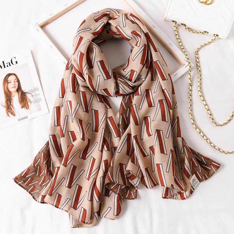 Luxury Brand Women Scarf 2020 New Spring Cotton Shawls Hijabs Lady Pashmina Bandana Print Beach Stoles Foulard Femme