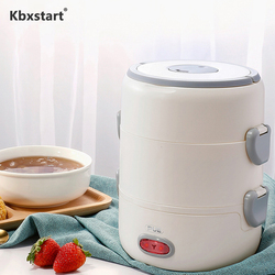 220V Mini Steam Rice Cooker Multi-function Food Kitchen Utensils 2 Ceramic Insulated Lunch Boxes