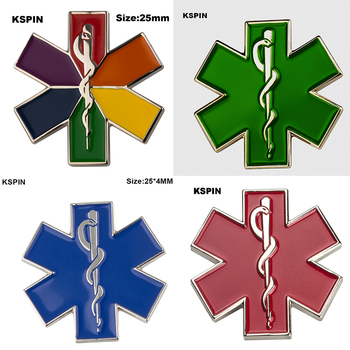Green Star of Life Nursing Ambulance Lapel Pin Badge Pin EMT EMS Blue Enamel Pins Brooch Badges XY0160-2