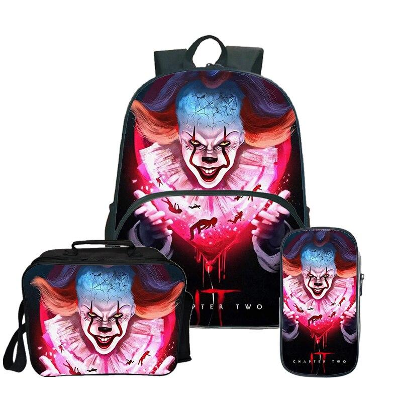 Mochila IT film d'horreur Clown sac à dos sacs d'école pour adolescentes garçon déjeuner sac à dos enfants voyage sac à dos avec porte-crayon