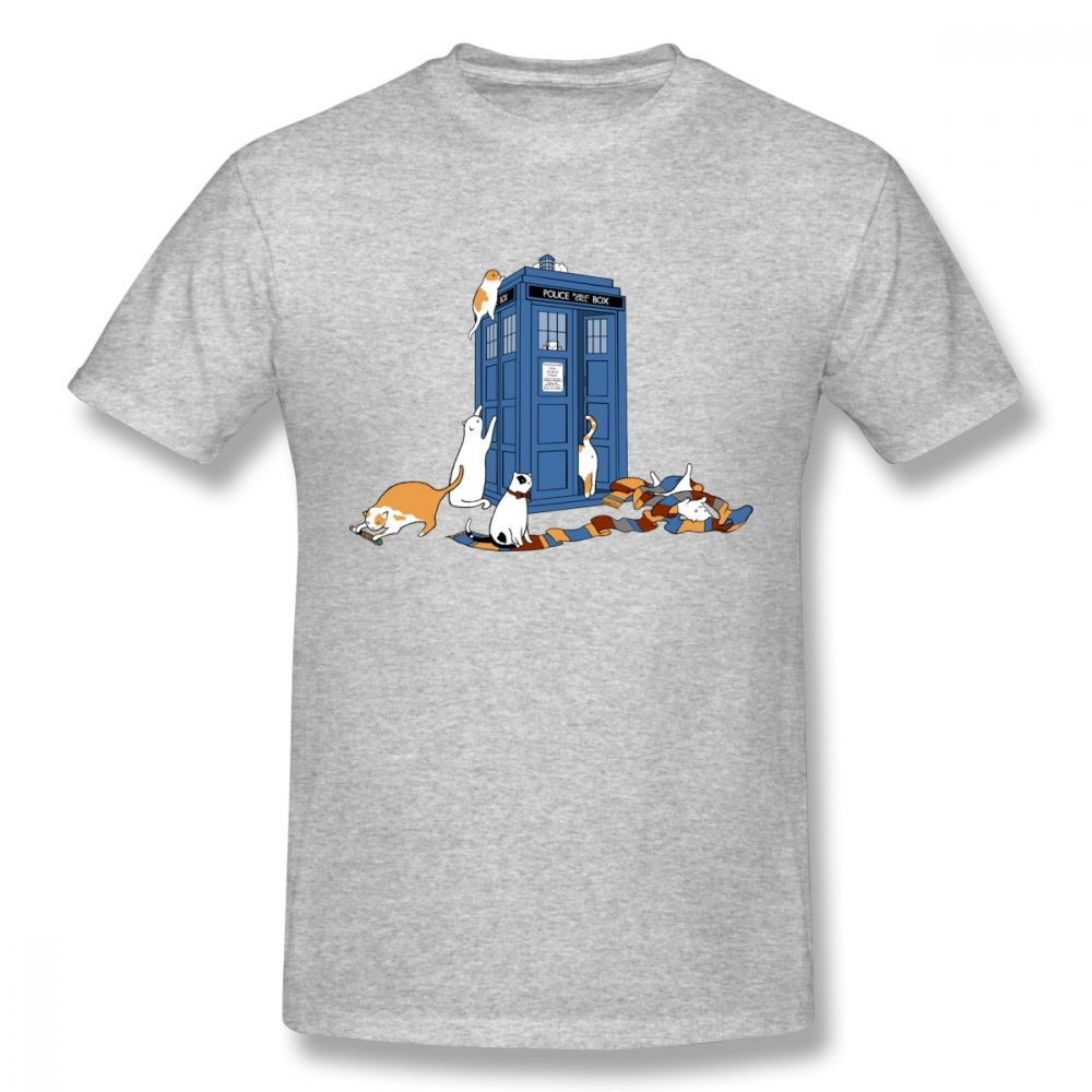 Cat Tardis Doctor Who Dr Tee Shirt Men O-neck Short Sleeve Summer New Fashion T Shirt Christmas Gift Tshirt Cotton Fabric