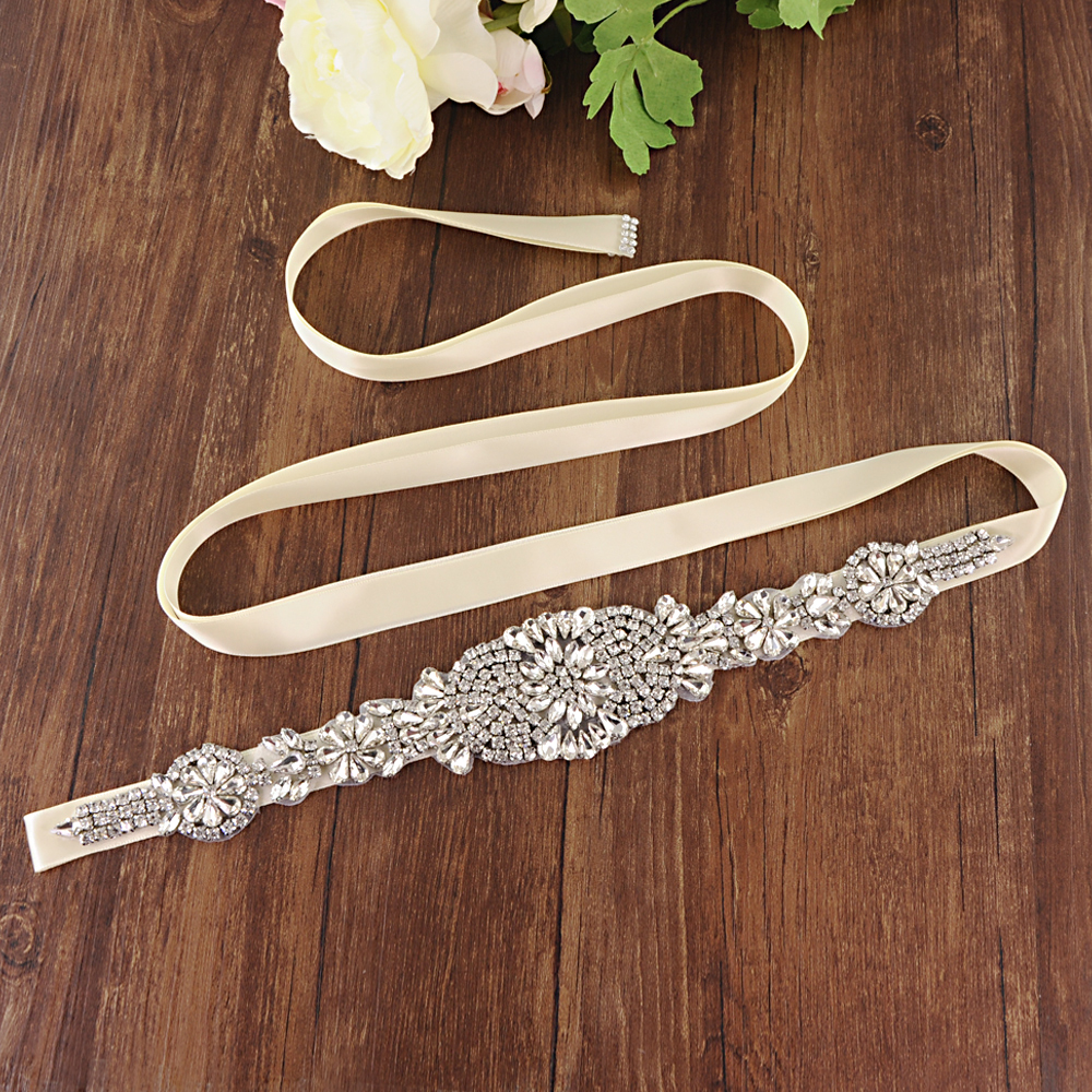 TRiXY S123-S Sparkly Bridal Belts Silver Diamond Bridal Wedding Dresses Belts for Women Wedding Waistband Belt Bridal Belt Sash