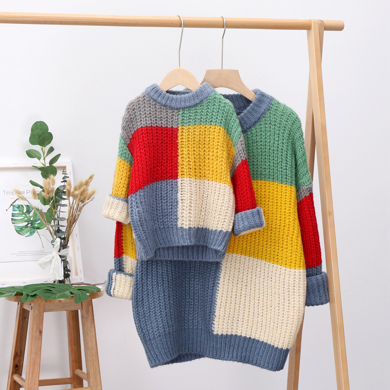 2020 winter parent-child dress rainbow hit-colored mother kids sweater female sweaters mom and daughter dress family clothes