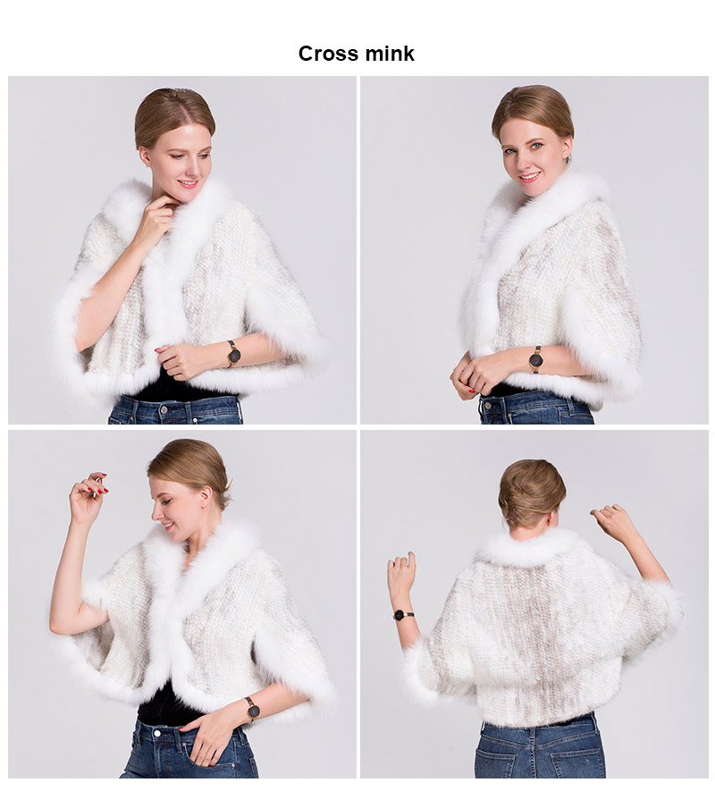 knit mink fur poncho fox collar (cross mink)