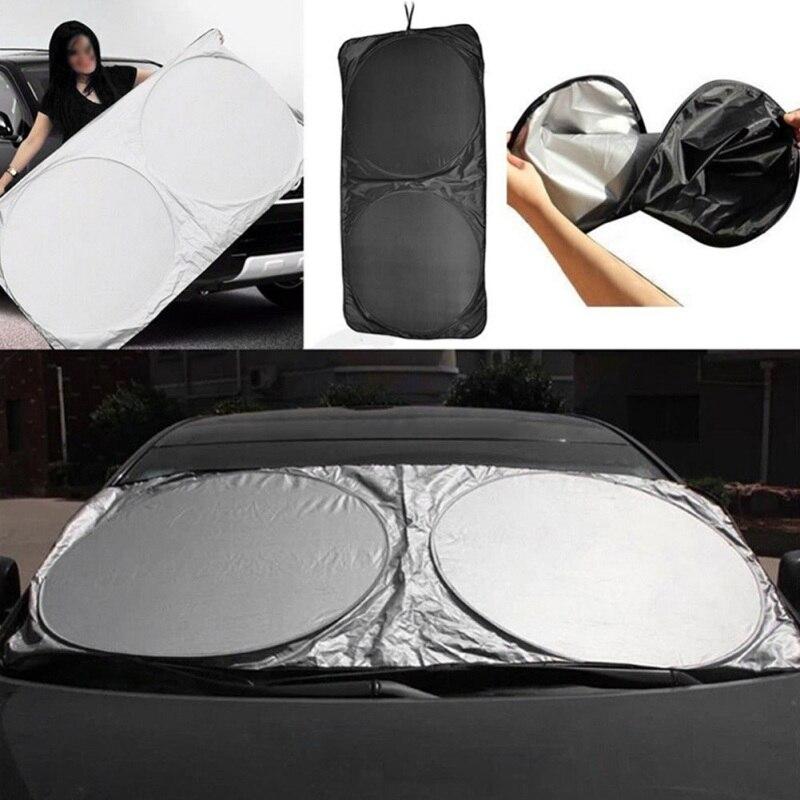 150*70CM Silver Car Sunshade Front Windshield Cloth Sun Visor Extender Durable Foldable Universal Heat Reflective Pad2020