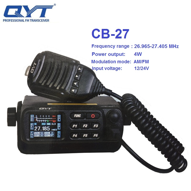 QYT CB-27 Walkie Talkie 26.965-27.405MHz FM AM Mode Citizen Band Radio CB 27 4W Shortware Car Radio ALL European MULTI-NORMS