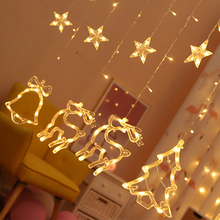 Curtain Lamp Moon Star Festival Romantic Fairy String Light LED Lamp String 220V EU Plug 3.0M Christmas Tree Garden Outdoor