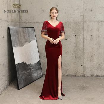 prom dresses sexy v-neck mermaid dark red Prom dress split side floor length in stock evening gown