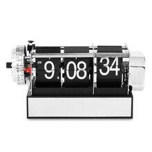 Настольные часы флип часы Авто страница Металл тишина кварцевый механизм управляемый 3 страницы номер дисплей креативный Домашний Настольный Будильник Черный