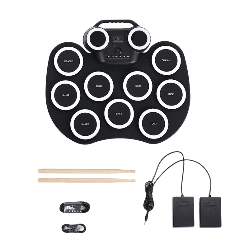 Electronic Drum Foldable Practice Drum Pad Rechargeable Drum Kit Built in Speakers Foot Pedals Drum Sticks for Beginners