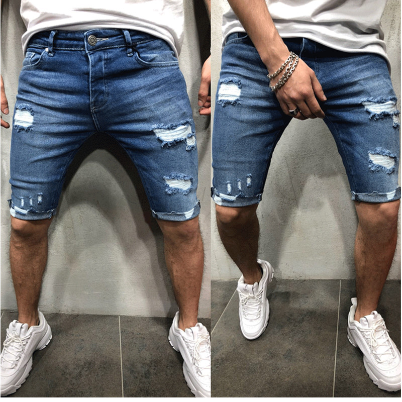 Summer New Men's Broken Hole Stretch Short Jeans Fashion Casual Slim Fit High Quality Elastic Denim Shorts Male Brand Clothes